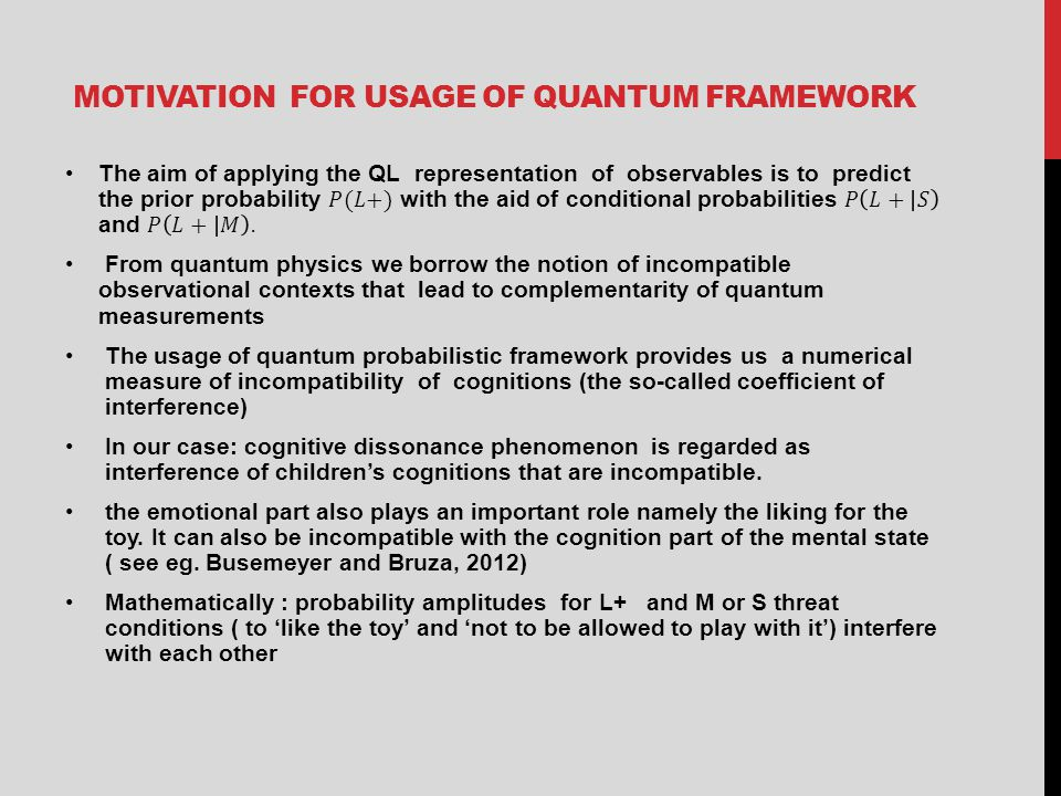 MOTIVATION FOR USAGE OF QUANTUM FRAMEWORK