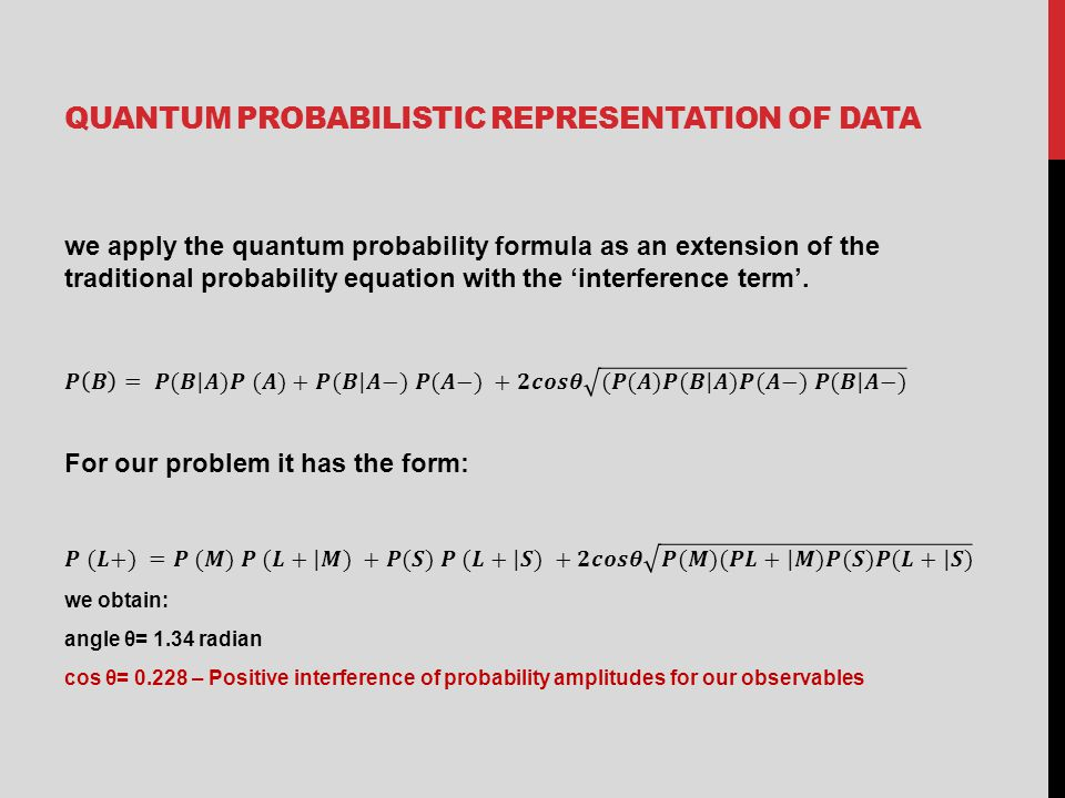 QUANTUM PROBABILISTIC REPRESENTATION OF DATA