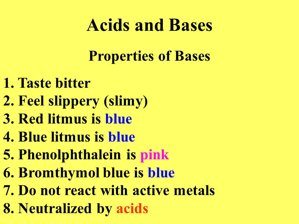 Acids and Bases Properties of Bases 1. Taste bitter 2.