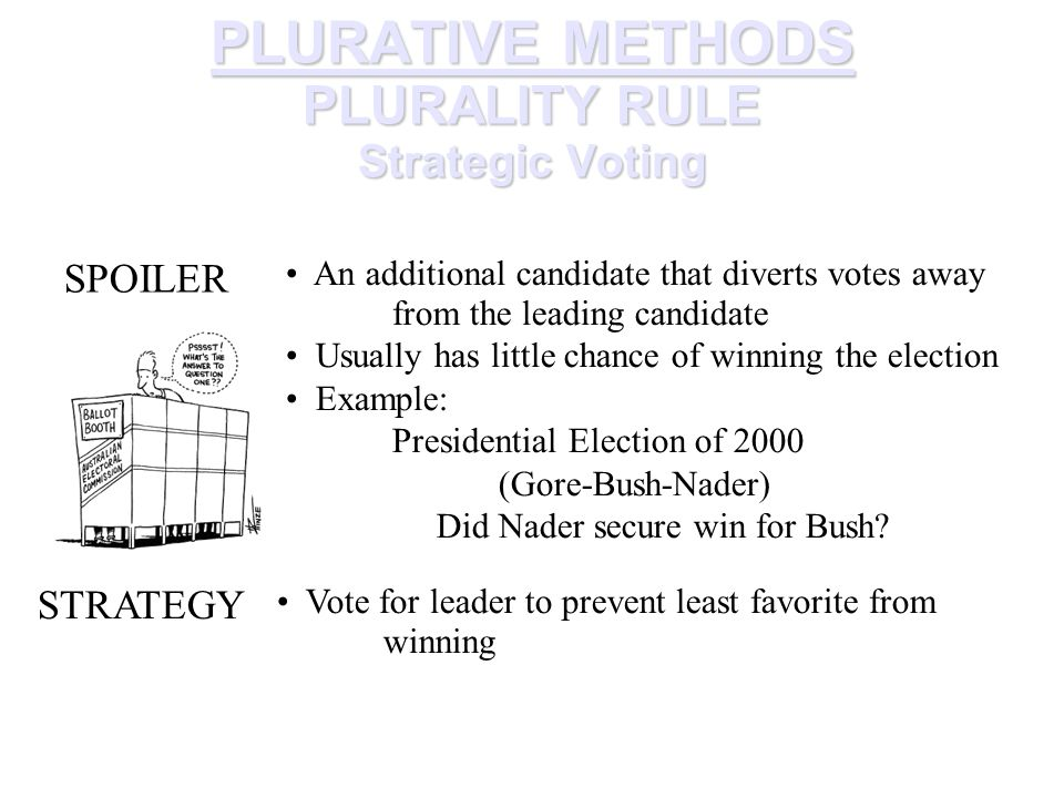 PLURATIVE METHODS PLURALITY RULE Strategic Voting SPOILER An additional candidate that diverts votes away from the leading candidate Usually has little chance of winning the election Example: Presidential Election of 2000 (Gore-Bush-Nader) Did Nader secure win for Bush.