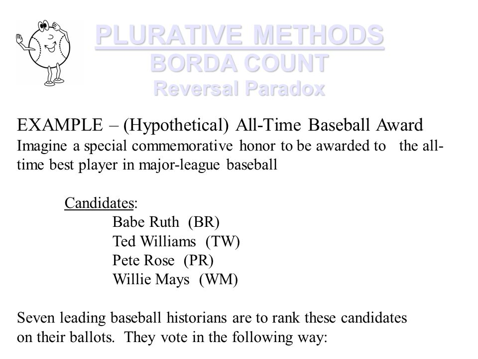 PLURATIVE METHODS BORDA COUNT Reversal Paradox EXAMPLE – (Hypothetical) All-Time Baseball Award Imagine a special commemorative honor to be awarded to the all- time best player in major-league baseball Candidates: Babe Ruth (BR) Ted Williams (TW) Pete Rose (PR) Willie Mays (WM) Seven leading baseball historians are to rank these candidates on their ballots.