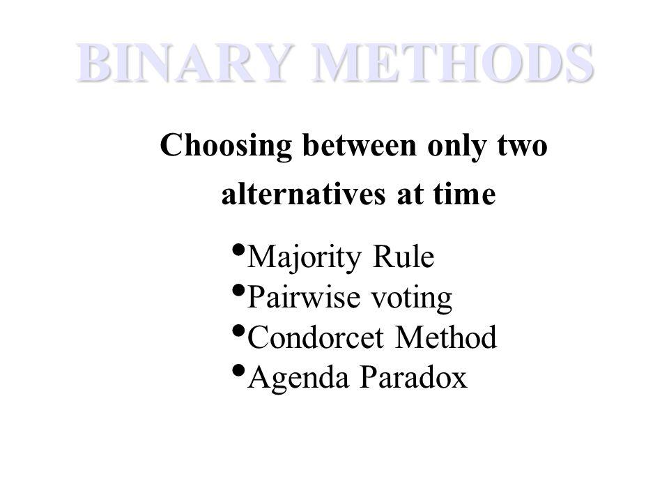 BINARY METHODS Choosing between only two alternatives at time Majority Rule Pairwise voting Condorcet Method Agenda Paradox