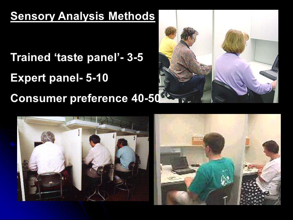 Sensory Analysis Methods Trained 'taste panel'- 3-5 Expert panel- 5-10 Consumer preference 40-50