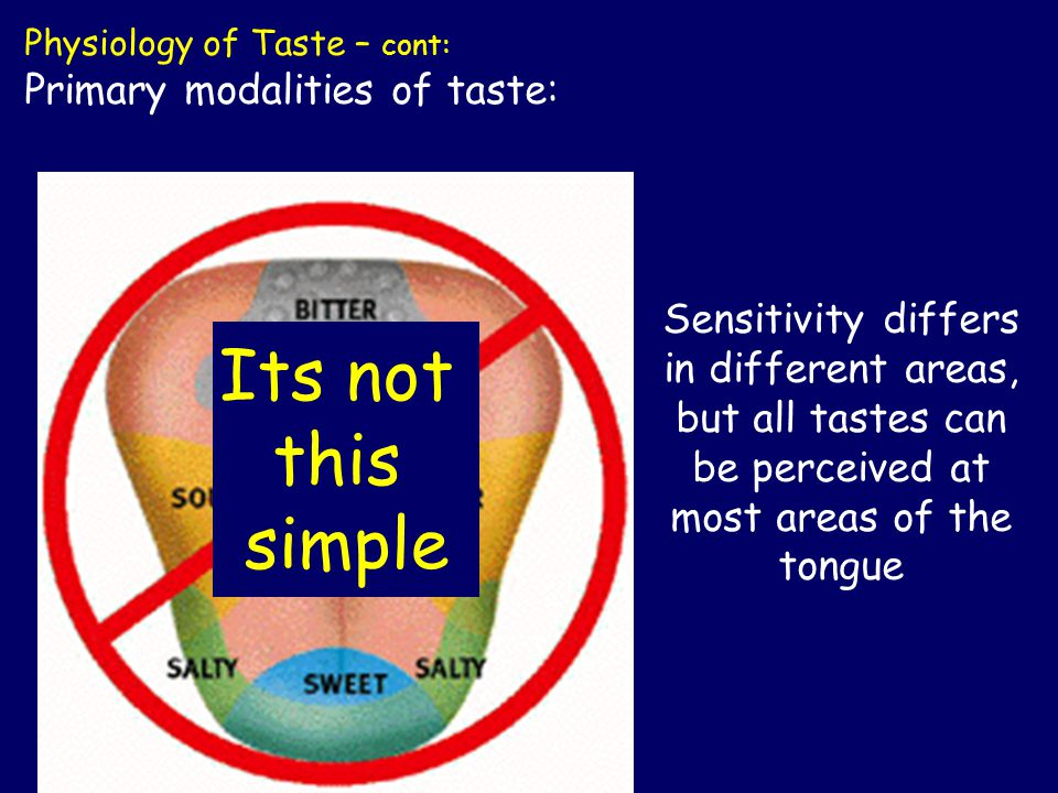 Sensitivity differs in different areas, but all tastes can be perceived at most areas of the tongue Its not this simple Physiology of Taste – cont: Primary modalities of taste: