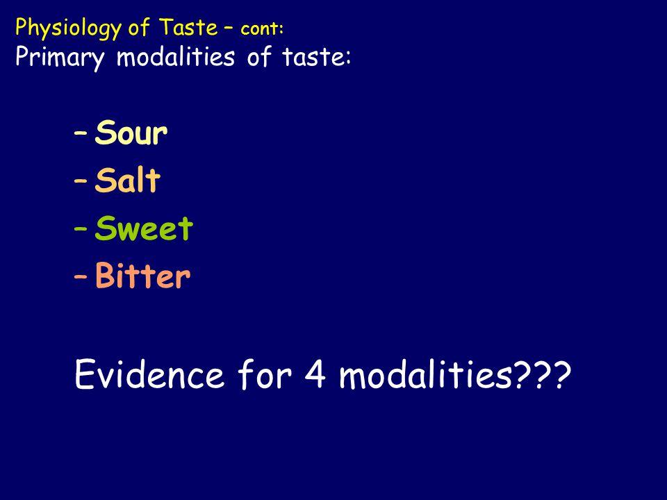 –Sour –Salt –Sweet –Bitter Evidence for 4 modalities .