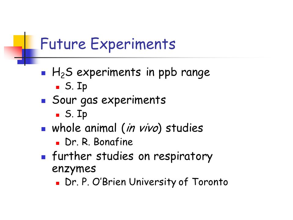 Future Experiments H 2 S experiments in ppb range S.