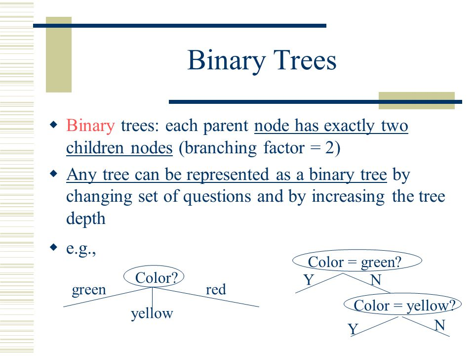 Binary Trees  Binary trees: each parent node has exactly two children nodes (branching factor = 2)  Any tree can be represented as a binary tree by changing set of questions and by increasing the tree depth  e.g., Color.