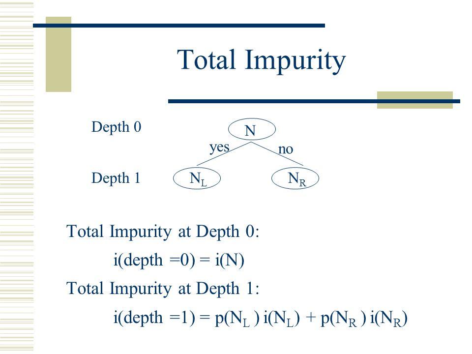 Total Impurity Total Impurity at Depth 0: i(depth =0) = i(N) Total Impurity at Depth 1: i(depth =1) = p(N L ) i(N L ) + p(N R ) i(N R ) N yes no NLNL NRNR Depth 0 Depth 1