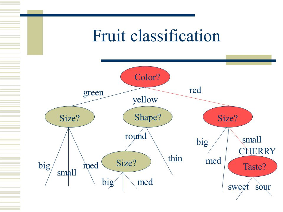 Fruit classification Color. green yellow red Size.