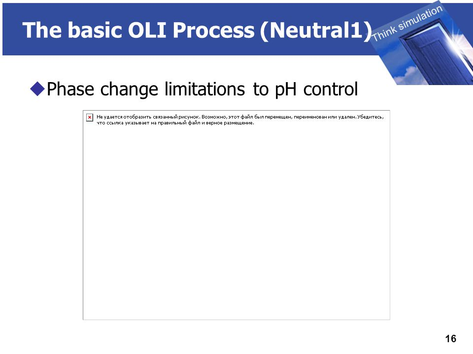 THINK SIMULATION Think simulation 16 The basic OLI Process (Neutral1)  Phase change limitations to pH control