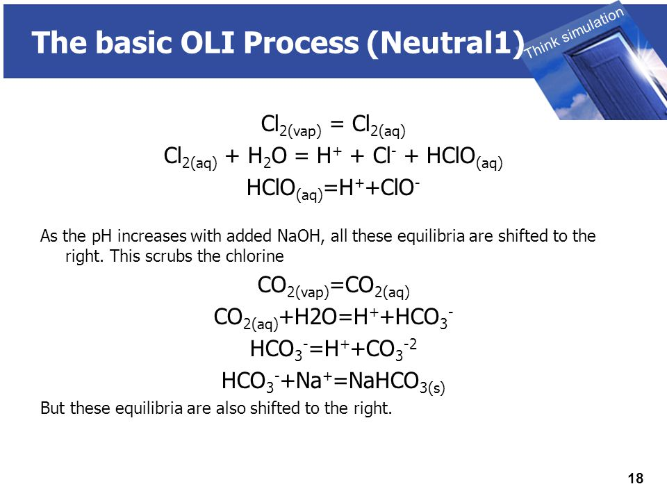 THINK SIMULATION Think simulation 18 The basic OLI Process (Neutral1) Cl 2(vap) = Cl 2(aq) Cl 2(aq) + H 2 O = H + + Cl - + HClO (aq) HClO (aq) =H + +ClO - As the pH increases with added NaOH, all these equilibria are shifted to the right.