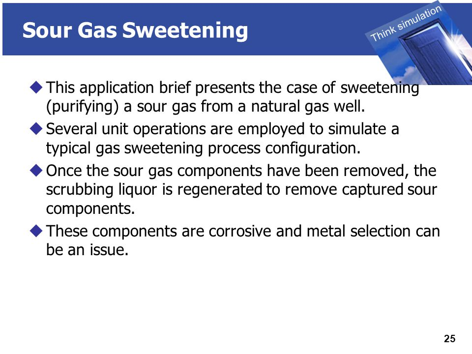 THINK SIMULATION Think simulation 25 Sour Gas Sweetening  This application brief presents the case of sweetening (purifying) a sour gas from a natural gas well.
