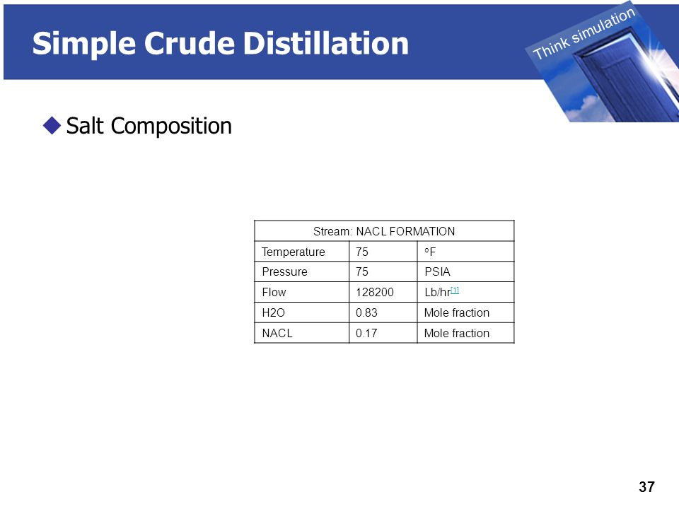 THINK SIMULATION Think simulation 37 Simple Crude Distillation  Salt Composition Stream: NACL FORMATION Temperature75 oFoF Pressure75PSIA Flow128200Lb/hr [1] [1] H2O0.83Mole fraction NACL0.17Mole fraction