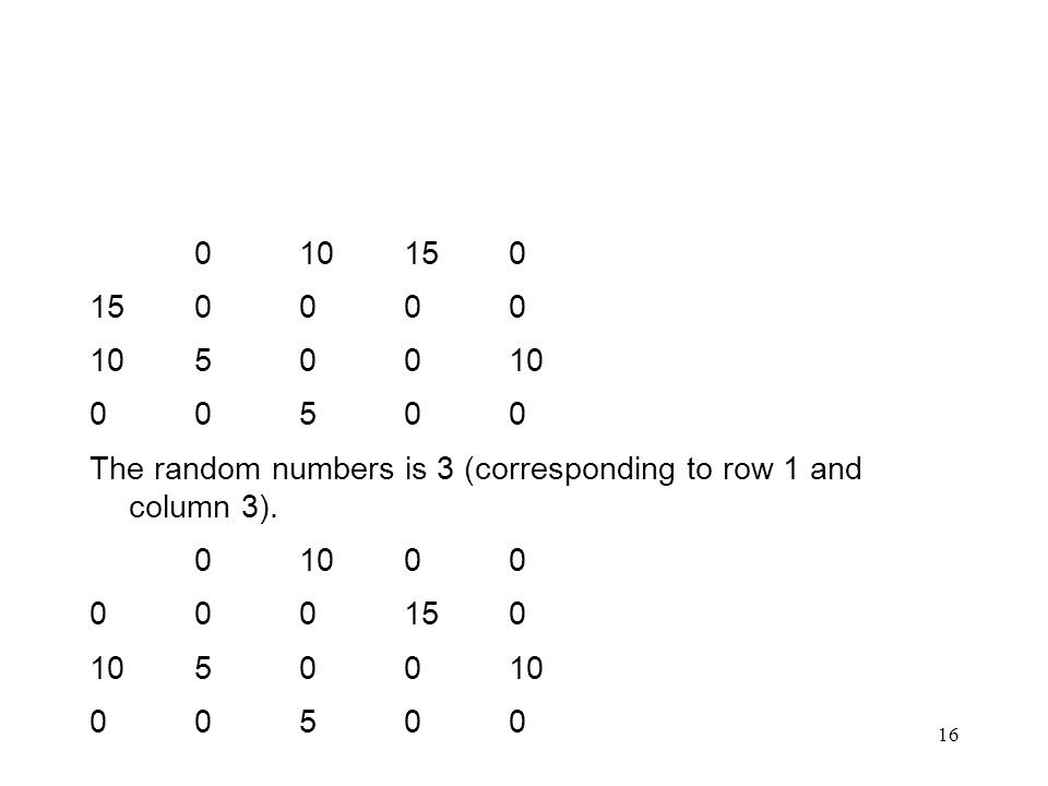 16 010150 150000 1050010 00500 The random numbers is 3 (corresponding to row 1 and column 3).