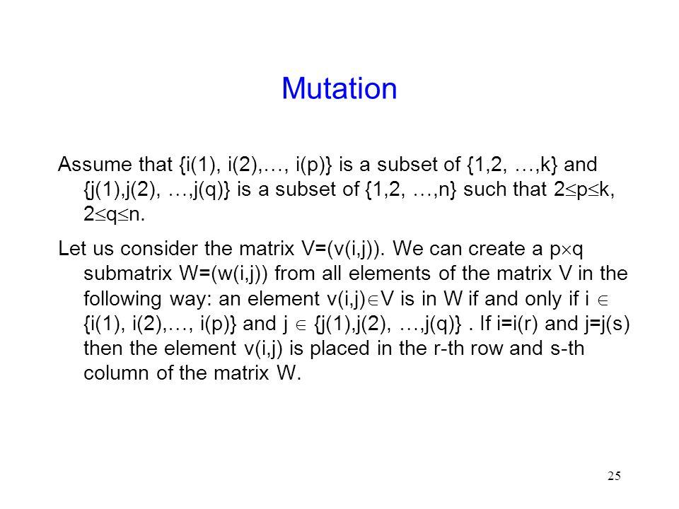 25 Mutation Assume that {i(1), i(2), , i(p)} is a subset of {1,2, ,k} and {j(1),j(2), ,j(q)} is a subset of {1,2, ,n} such that 2  p  k, 2  q  n.