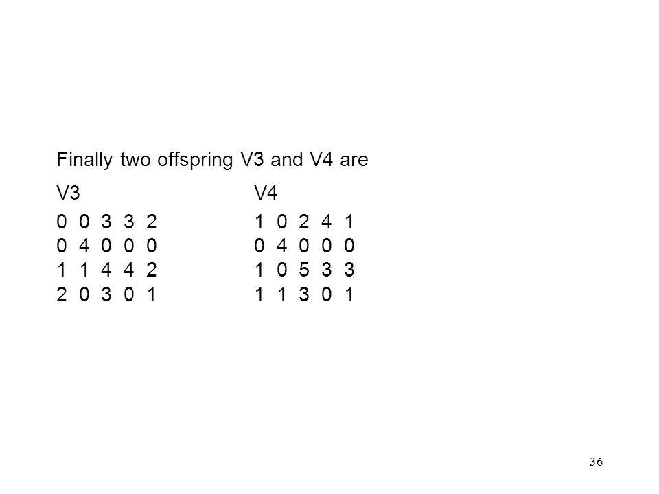36 Finally two offspring V3 and V4 are V3V4 0 0 3 3 21 0 2 4 10 4 0 0 0 1 1 4 4 21 0 5 3 3 2 0 3 0 11 1 3 0 1