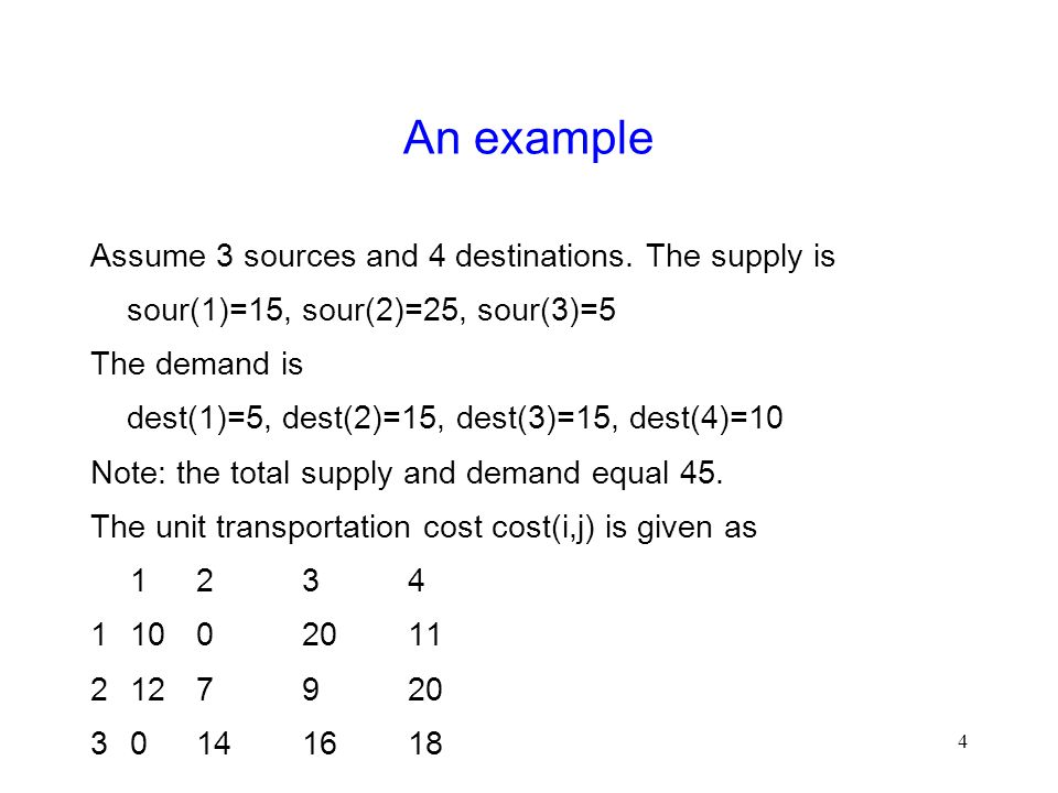 4 An example Assume 3 sources and 4 destinations.