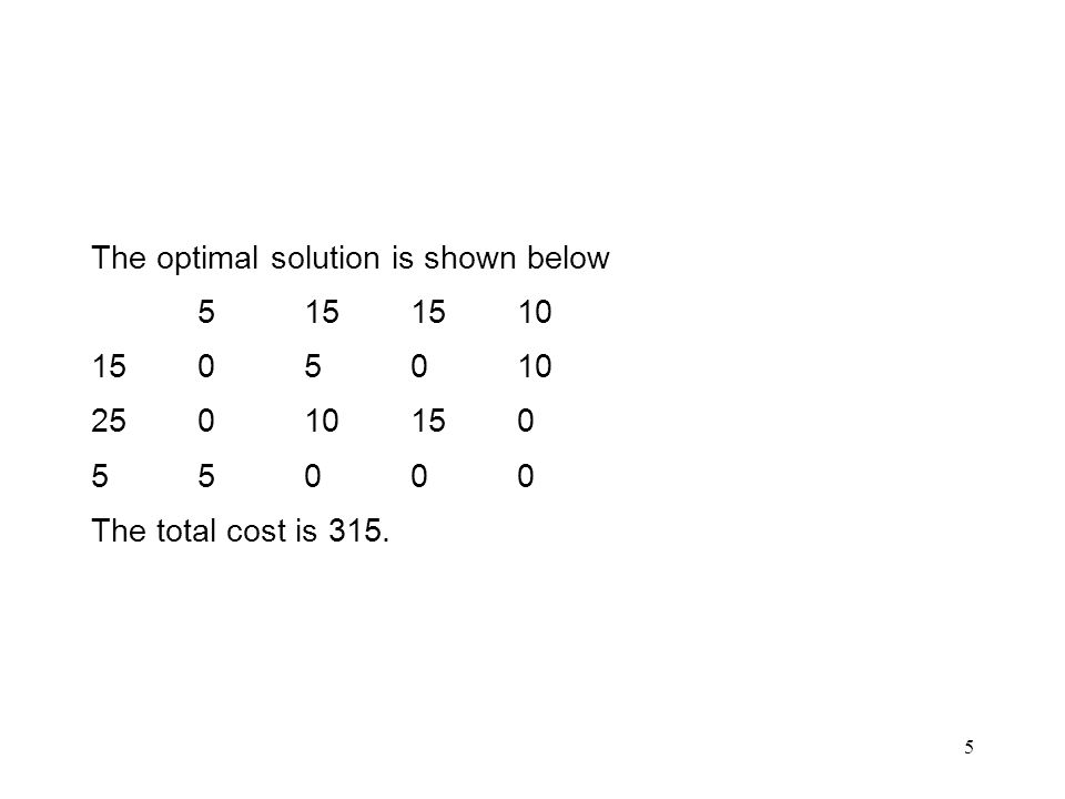 5 The optimal solution is shown below 5151510 1505010 25010150 55000 The total cost is 315.