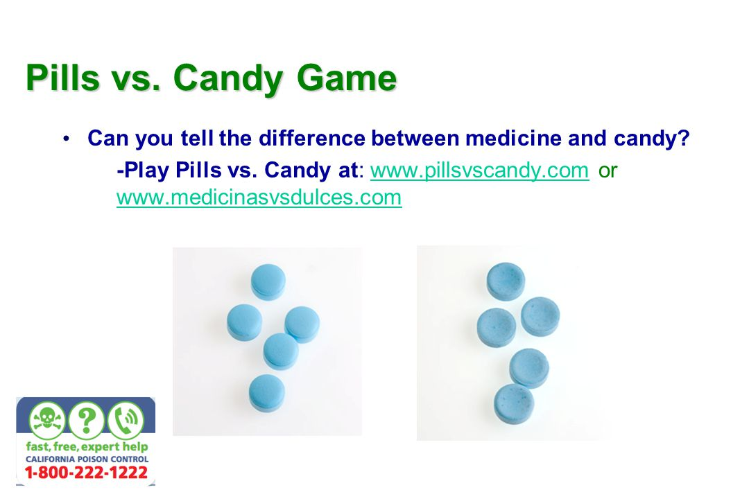 Pills vs. Candy Game Can you tell the difference between medicine and candy.
