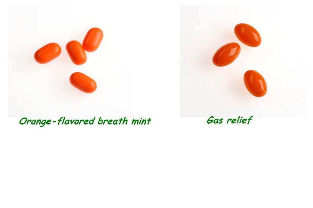 Orange-flavored breath mint Gas relief