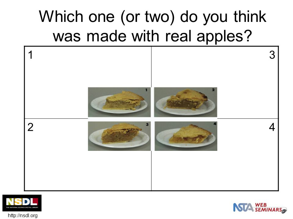 Which one (or two) do you think was made with real apples 13 24 http://nsdl.org