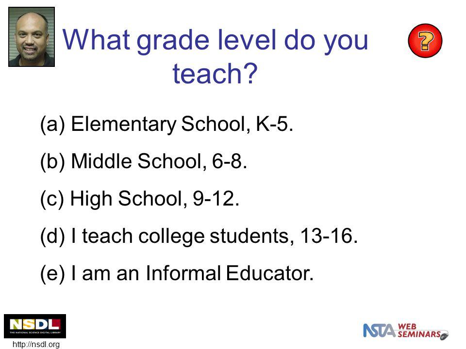 What grade level do you teach? (a) Elementary School, K-5. (b) Middle School, 6-8. (c) High School, 9-12. (d) I teach college students, 13-16. (e) I a