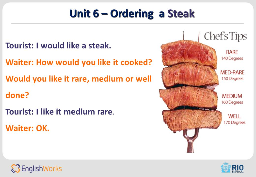 Unit 6 – Ordering a Steak. Tourist: I would like a steak.
