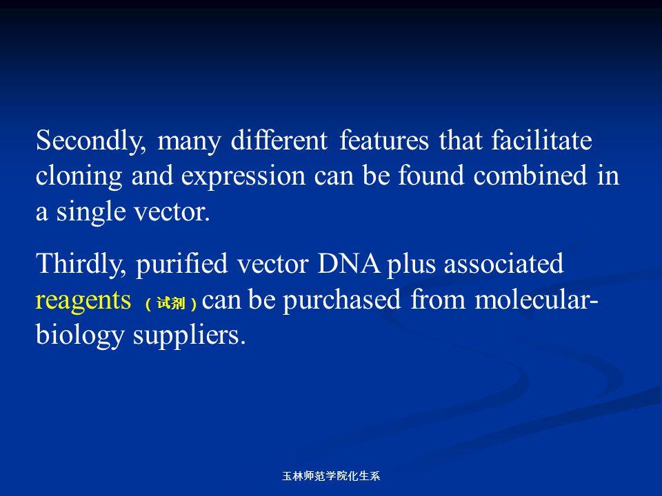 玉林师范学院化生系 Secondly, many different features that facilitate cloning and expression can be found combined in a single vector. Thirdly, purified vector