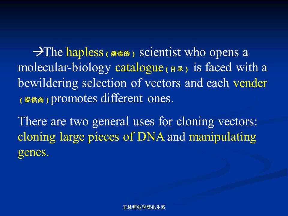 玉林师范学院化生系  The hapless (倒霉的) scientist who opens a molecular-biology catalogue (目录) is faced with a bewildering selection of vectors and each vender