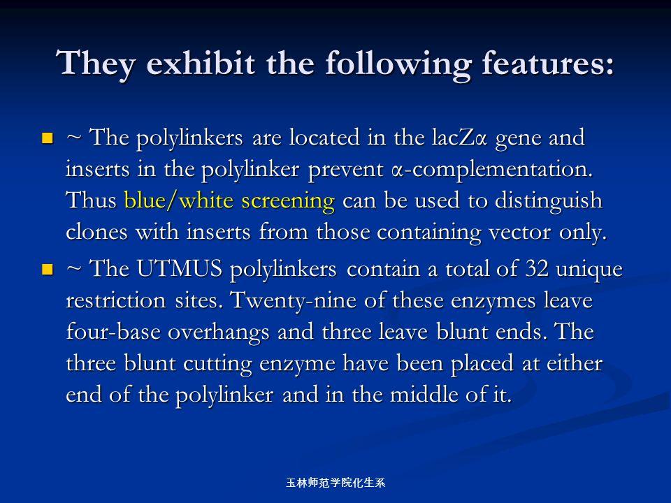玉林师范学院化生系 They exhibit the following features: ~ The polylinkers are located in the lacZα gene and inserts in the polylinker prevent α-complementation