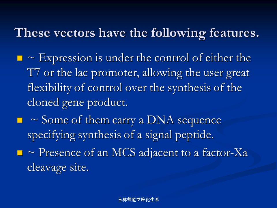 玉林师范学院化生系 These vectors have the following features. ~ Expression is under the control of either the T7 or the lac promoter, allowing the user great f