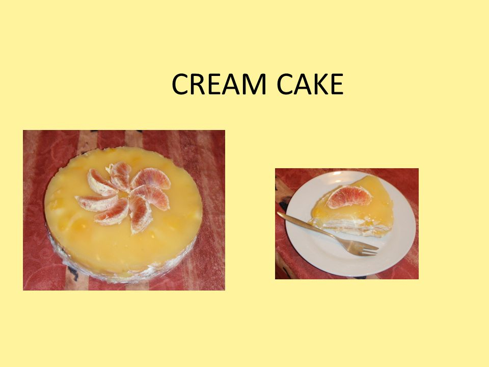 Ingredien ts : biscuits sugar 2 pots sour cream 1 pot w h ipp ed cream 1 tin fruit 1 vanilla pudding