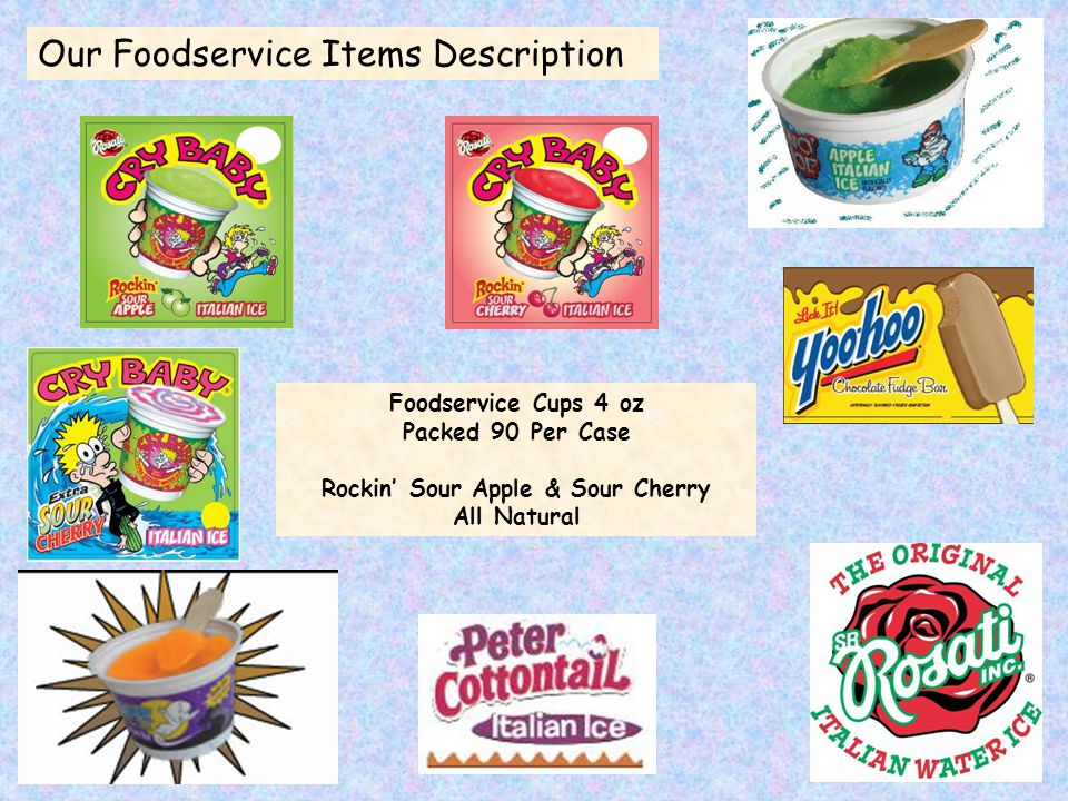 Foodservice Cups 4 oz Packed 90 Per Case Rockin' Sour Apple & Sour Cherry All Natural Our Foodservice Items Description