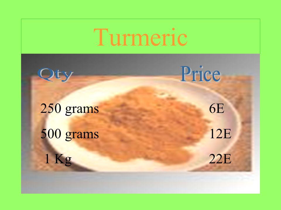 Turmeric 250 grams6E 500 grams12E 1 Kg22E