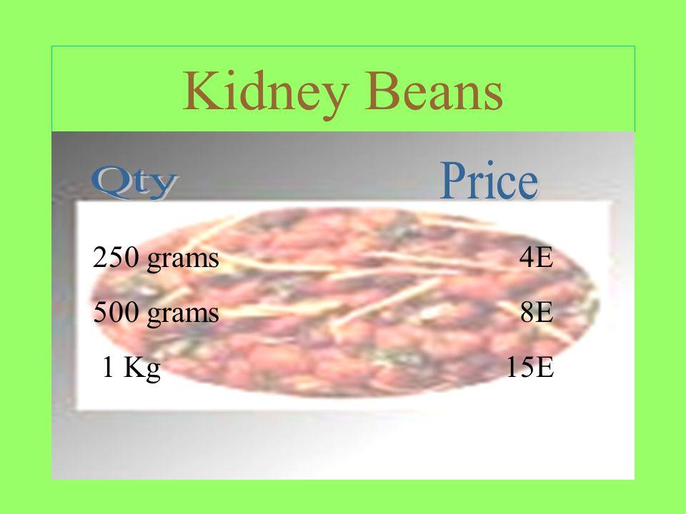 Kidney Beans 250 grams 4E 500 grams 8E 1 Kg 15E