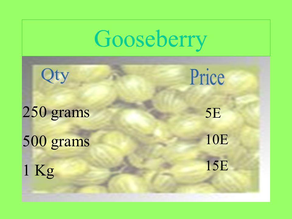 Gooseberry 250 grams 500 grams 1 Kg 5E 10E 15E