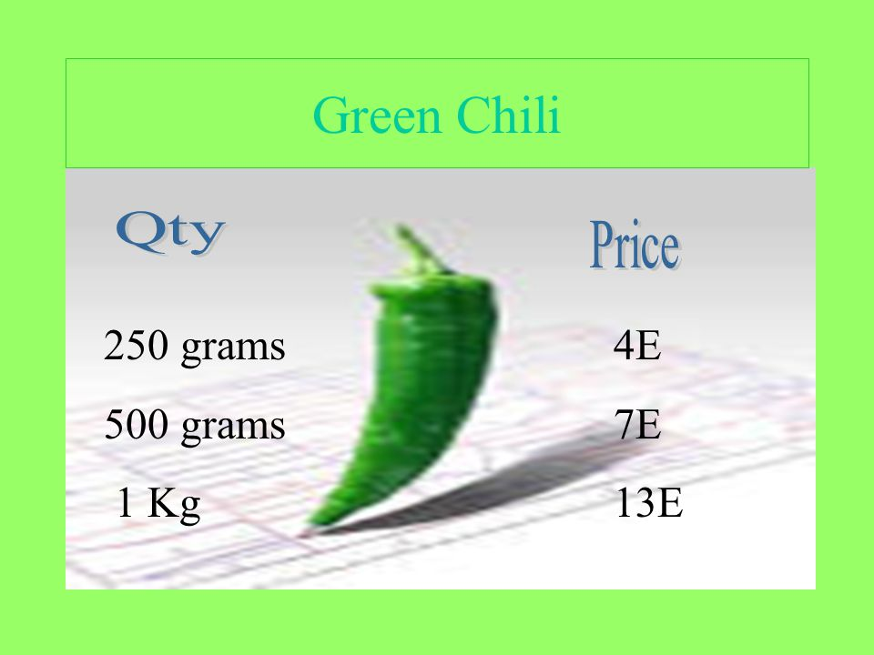 Green Chili 250 grams 500 grams 1 Kg 4E 7E 13E