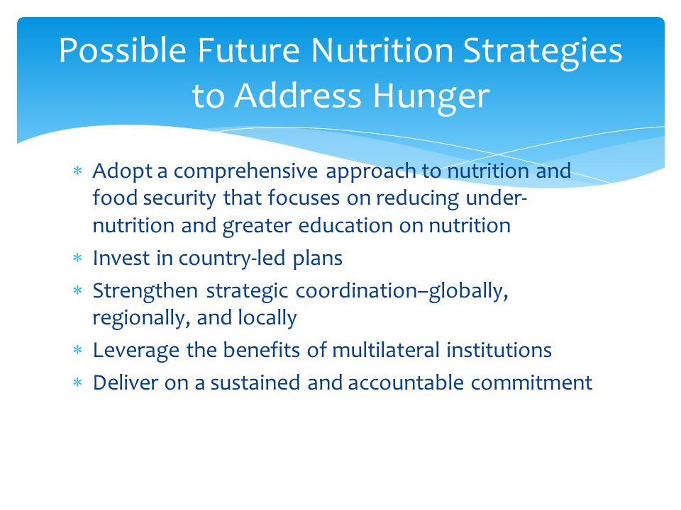  Adopt a comprehensive approach to nutrition and food security that focuses on reducing under- nutrition and greater education on nutrition  Invest in country-led plans  Strengthen strategic coordination–globally, regionally, and locally  Leverage the benefits of multilateral institutions  Deliver on a sustained and accountable commitment Possible Future Nutrition Strategies to Address Hunger