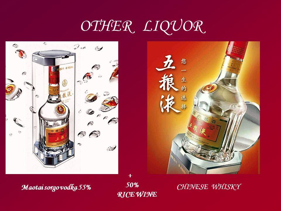 OTHER LIQUOR CHINESE WHISKY Maotai sorgo vodka 55% + 50% RICE WINE