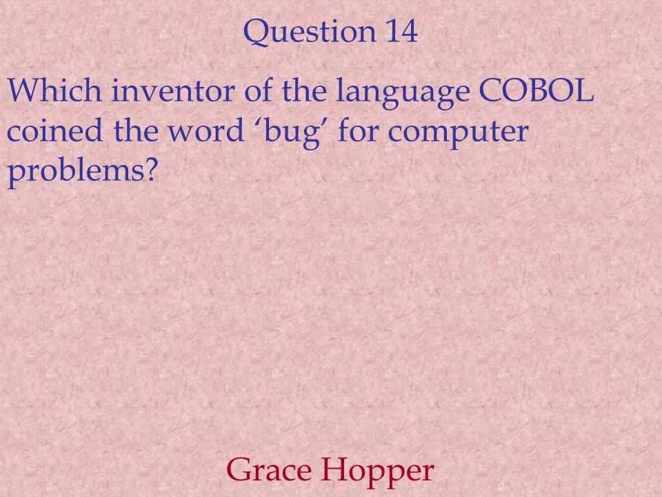 Question 14 Which inventor of the language COBOL coined the word 'bug' for computer problems.