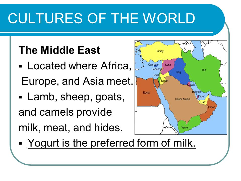 CULTURES OF THE WORLD The Middle East  Located where Africa, Europe, and Asia meet.
