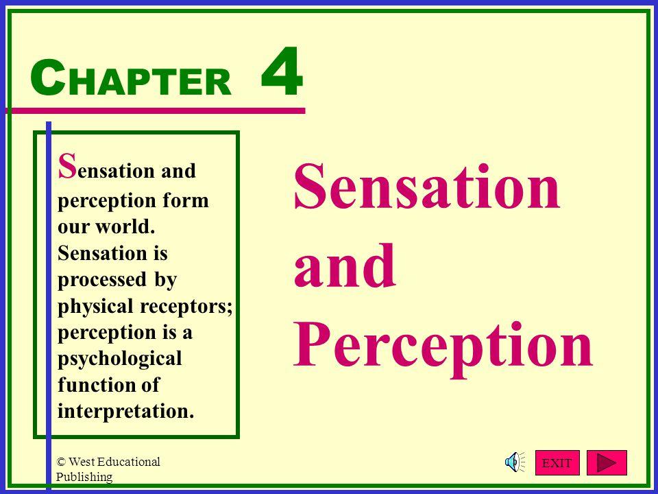 © West Educational Publishing Sensation and Perception C HAPTER 4 S ensation and perception form our world.