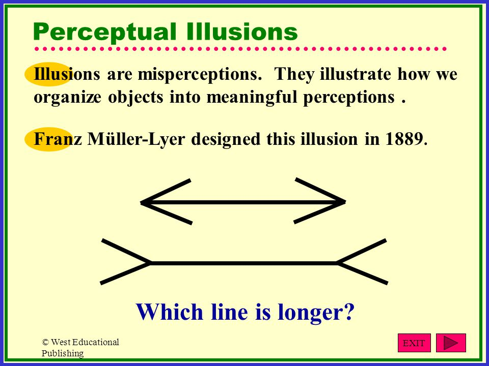 © West Educational Publishing Perceptual Illusions Franz Müller-Lyer designed this illusion in 1889.