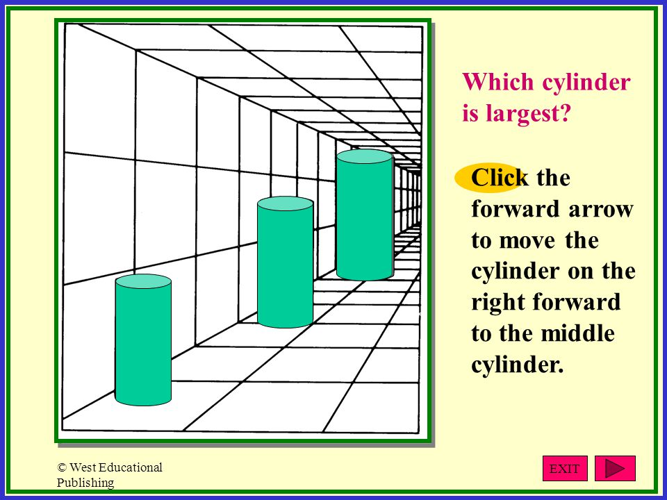 © West Educational Publishing Click the forward arrow to move the cylinder on the right forward to the middle cylinder.
