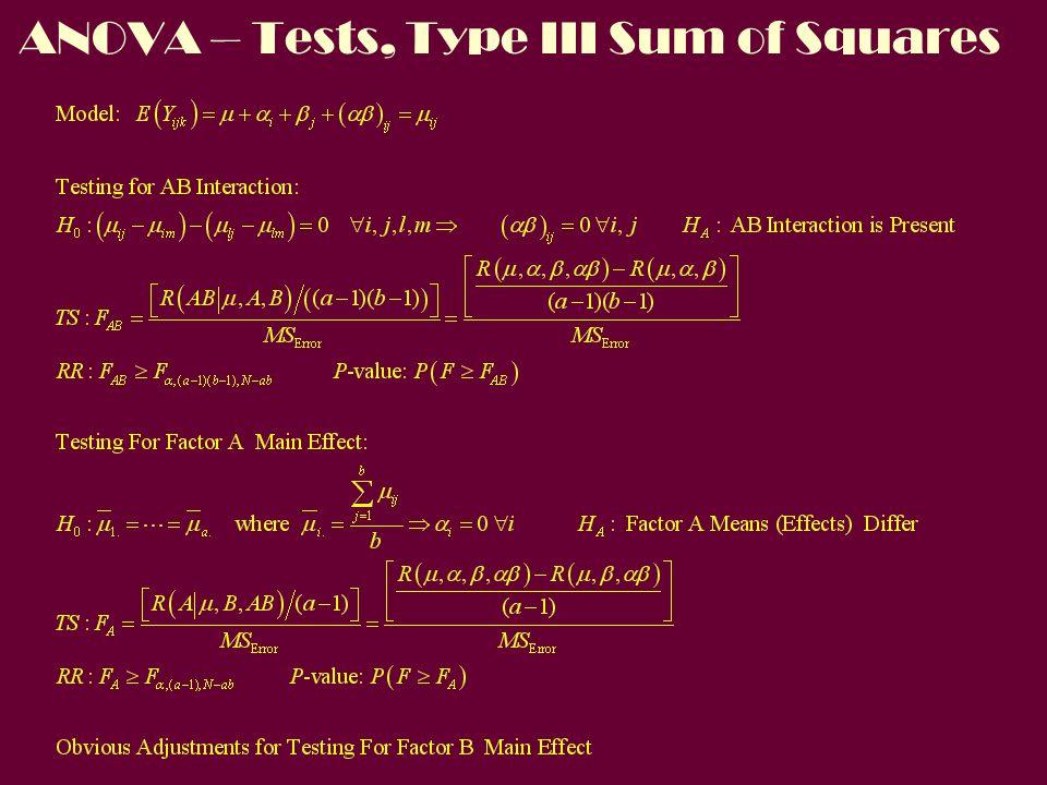 ANOVA – Tests, Type III Sum of Squares