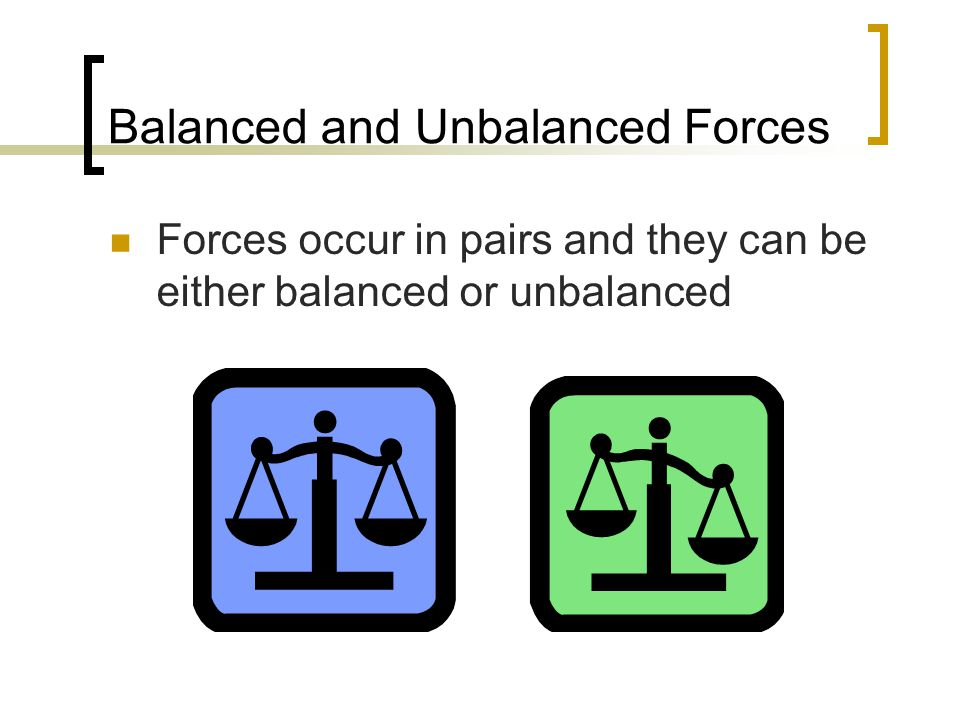 Balanced and Unbalanced Forces Forces occur in pairs and they can be either balanced or unbalanced