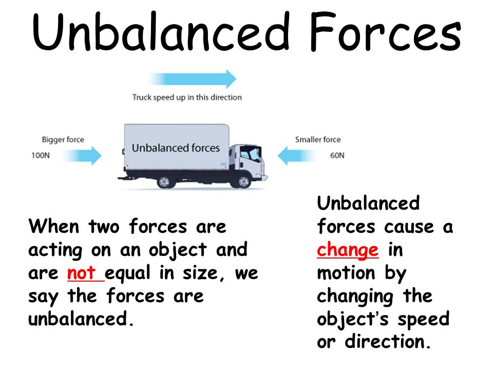 Unbalanced Forces When two forces are acting on an object and are not equal in size, we say the forces are unbalanced. Unbalanced forces cause a chang