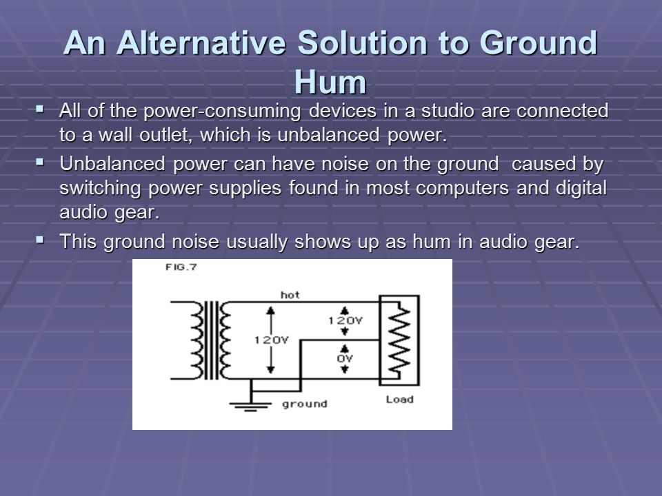An Alternative Solution to Ground Hum  All of the power-consuming devices in a studio are connected to a wall outlet, which is unbalanced power.