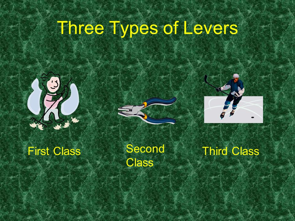 Three Types of Levers First Class Second Class Third Class