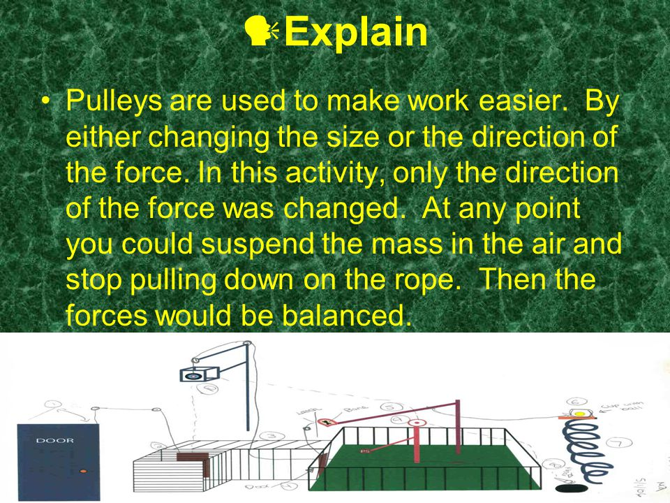 Explain Pulleys are used to make work easier.